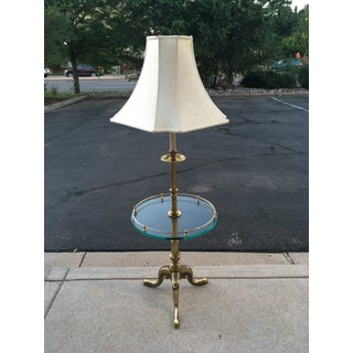 Vintage Stiffel French Provincial Heavy Brass Table Floor Lamp & Silk Shade Preview