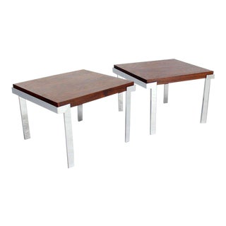 Baughman Rosewood & Chrome Mid-Century Modern End Tables - A Pair For Sale