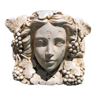 Concrete Garden Statuary of Gaia in Bas Relief For Sale