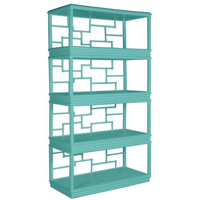 Wood Tibet Etagere - Turquoise For Sale - Image 7 of 7