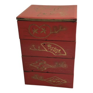 Japanese Red Lacquer and Gold Decorated Stacking Bento Box For Sale