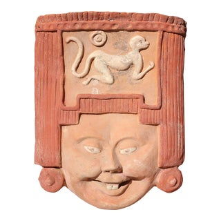 Vintage Primitive Terracotta Face and Monkey Wall Sculpture For Sale