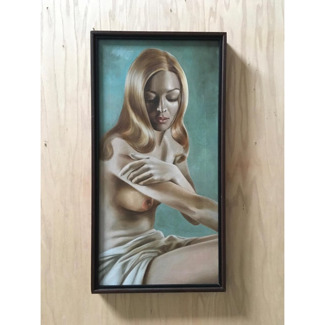 Turquoise Nude Oil Painting by Lynn Lupetti, 1970s For Sale - Image 8 of 8