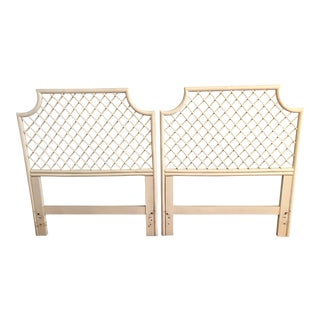 Vintage White Bamboo Rattan Pagoda Twin Headboards - A Pair