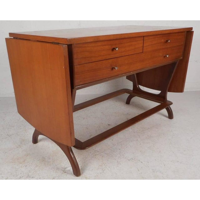 RWAY RWAY Mid-Century Modern Drop-Leaf Console Table For Sale - Image 4 of 11