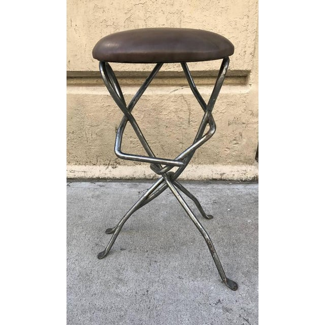 Sculptural Wrought Iron Stool For Sale - Image 4 of 4