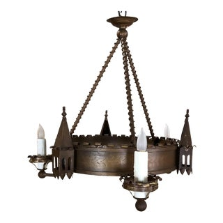Antique Gothic Wrought Iron Chandelier For Sale
