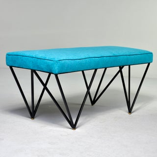 Italian Mid Century Style Bench With Teal Fabric and Black Metal Legs Preview