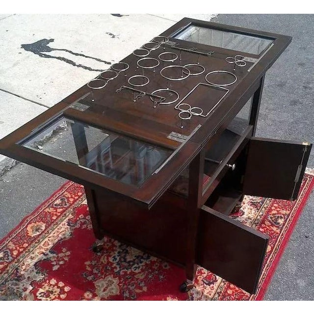 Early 20th Century Vintage Bar Cart With Pop Up Center and Beveled Glass For Sale - Image 5 of 11