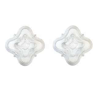 Clear Textured Glass Mid-Century Modern Wall Sconces or Flush Mounts - a pair For Sale