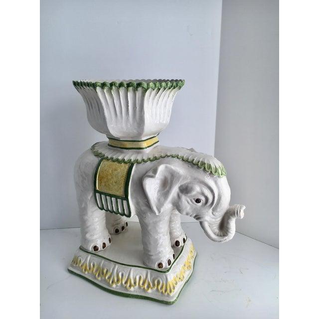 Hollywood Regency Italian Ceramic Elephant Cachepot Planter For Sale - Image 4 of 7