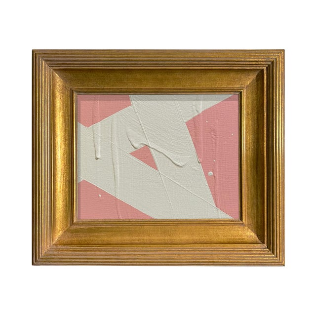 Ron Giusti Mini Abstract Blush and Cream Acrylic Painting, Framed For Sale - Image 4 of 4