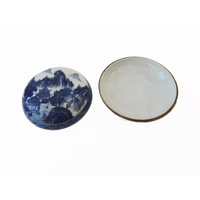 Blue & White Round Porcelain Canister - Image 3 of 7