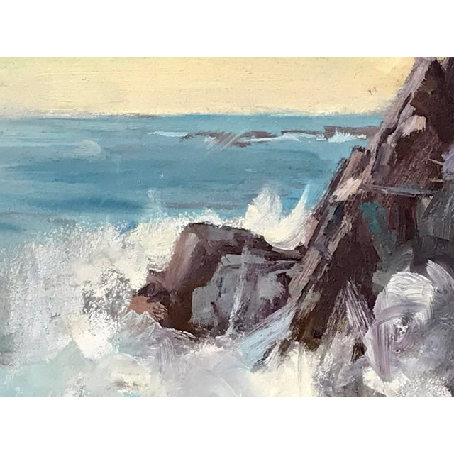 Vintage American Impressionist Oil Painting Seascape by Harry Barton For Sale - Image 4 of 9