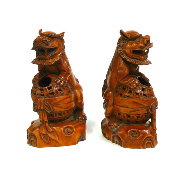 Boxwood Carved Foo Dog Feng Shui Figures - A Pair - Image 4 of 6