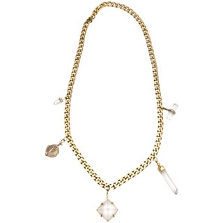 Napier Gold Link Chain Hanging Crystal Pendant Necklace For Sale