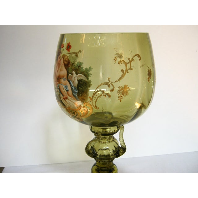 Antique Hand Painted Blown Glass Loving Chalice For Sale - Image 5 of 11