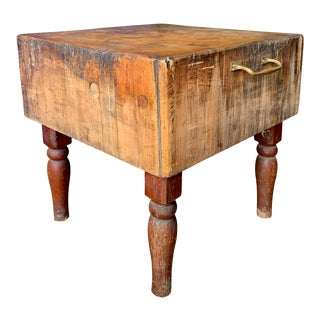 Early 20th Century American Butcher Block For Sale