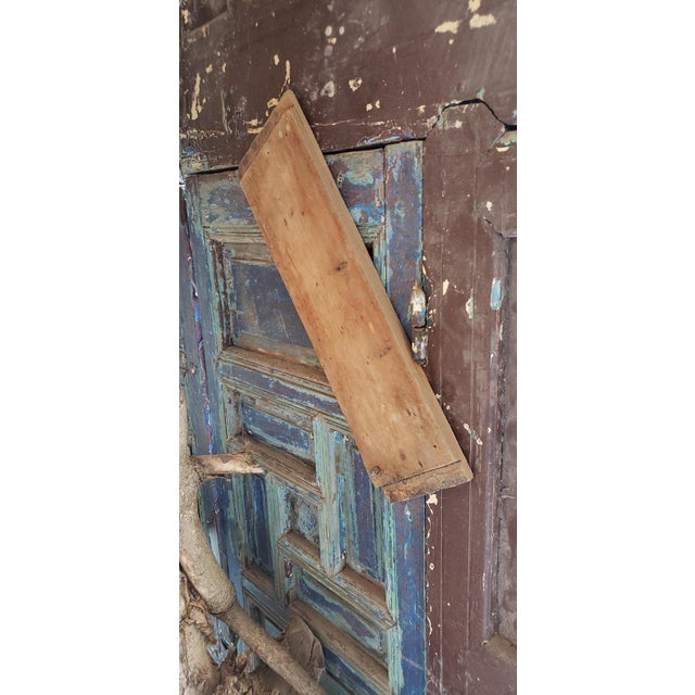 1940s Vintage Moroccan Old Hand Painted Double Door For Sale In Orlando - Image 6 of 8