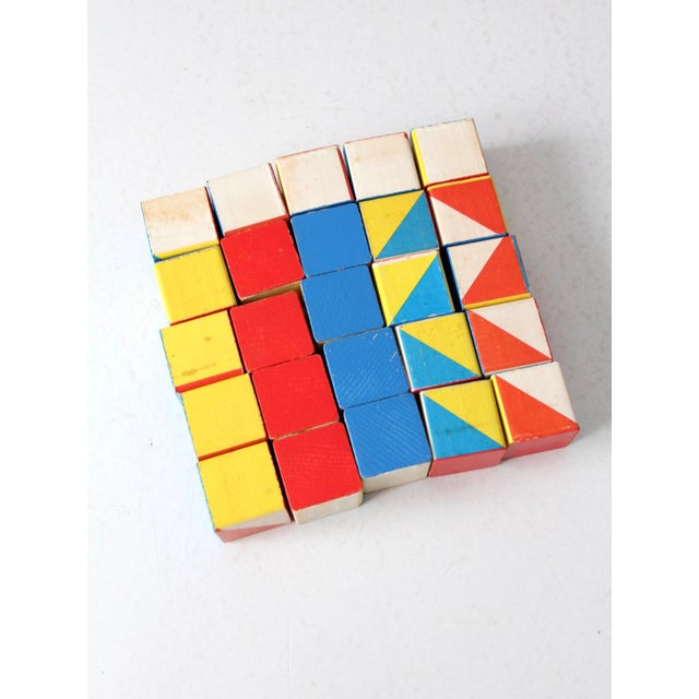 Wood Playskool Color Cubes Toy Blocks Circa 1970 For Sale - Image 7 of 12