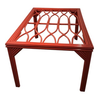 1970s Vintage Professionally Lacquered Ficks Reed Rattan Vining Table For Sale