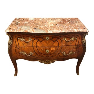 19th Century French Louis XV Style Bombe Bronze Mounted Commode With Marble Top For Sale