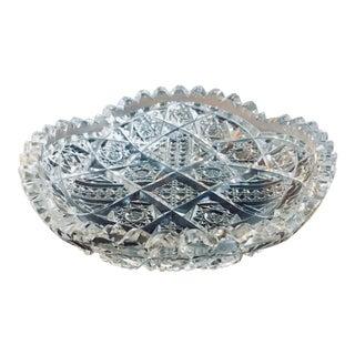 "6"" American Brilliant Period Cut Glass Low Bowl For Sale"