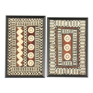 Framed Tapa Paintings on Bark Paper - a Pair For Sale