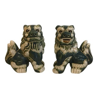 Majolica Style Foo Dog Figurines - a Pair For Sale