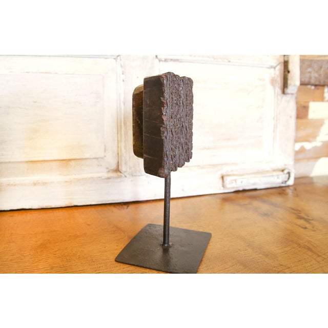 Folk Art Nashmia Wooden Block Print on Stand For Sale - Image 3 of 5