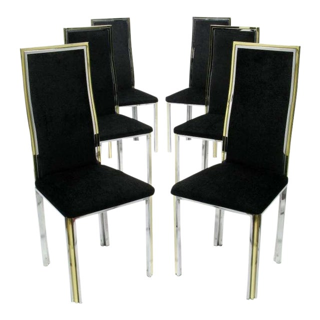 Six Chrome & Brass Dining Chairs Attributed to Romeo Rega - Image 1 of 8