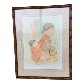 Limited Edition Art on Japan Paper by Edna Hibel For Sale