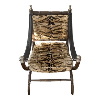 1970s Vintage Faux Bamboo Zebra Accent Chair For Sale