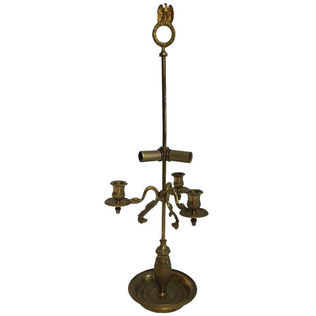 French Antique Brass Candelabra Converted Into a Table Lamp For Sale