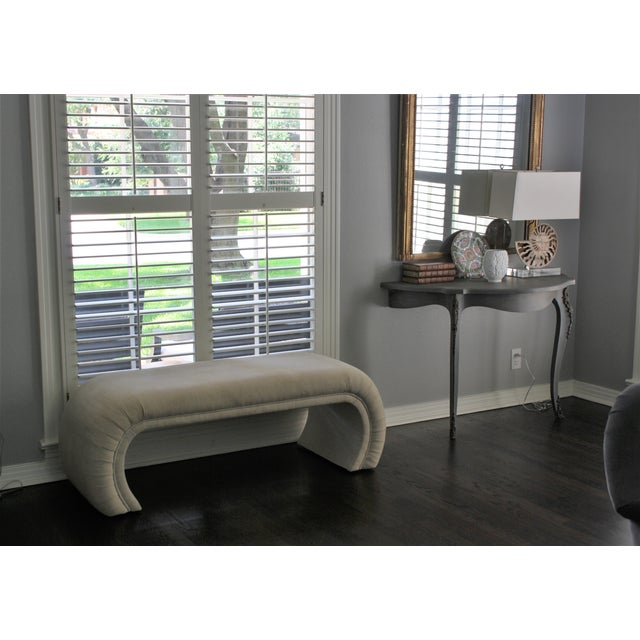 Milo Baughman Style Waterfall Upholstered Bench - Image 9 of 9