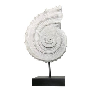 Large White Quartz Stone Shell Sculpture on Wooden Stand For Sale