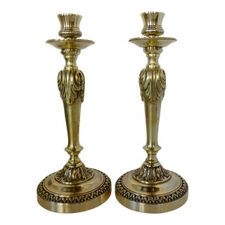 French Brass Candlesticks - a Pair For Sale