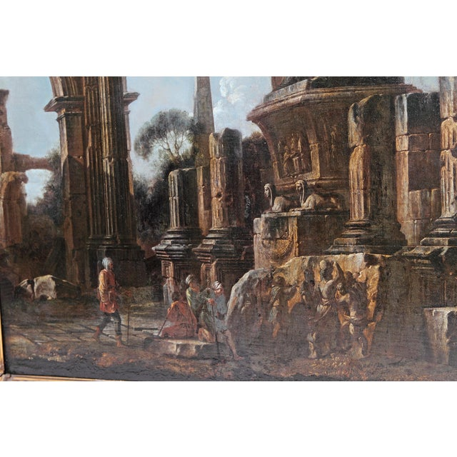 Baroque Painting / Classical Ruins Attributed to Giovanni Ghisolfi (1623-1683) For Sale - Image 12 of 13
