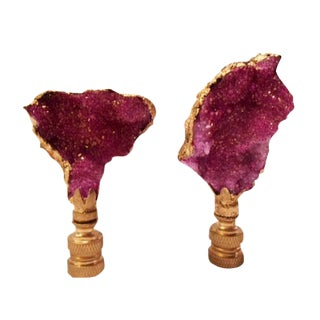 Dyed Pink Geode & Gold Gilt Lamp Finials - A Pair For Sale