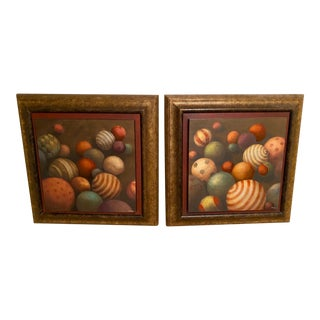 Jill O'Flannery Ball Matte Oil Paintings - a Pair For Sale