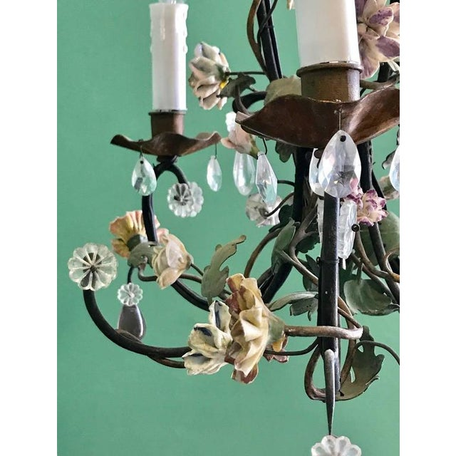 High end french tole chandelier with porcelain flowers mid 19th french tole chandelier with porcelain flowers mid 19th century image 3 of 7 mozeypictures Image collections