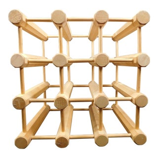 Mid-Century Modern Wooden Peg Dowel 9 Wine Rack For Sale