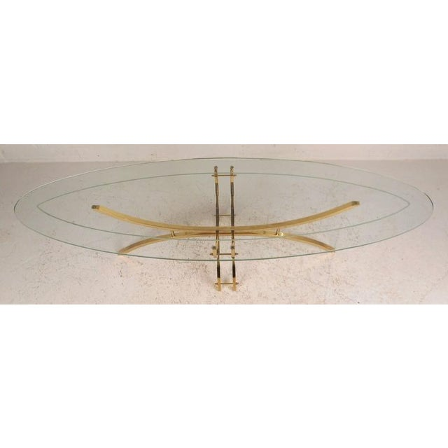 Contemporary Contemporary Modern Glass and Brass Surfboard Coffee Table For Sale - Image 3 of 8