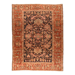 Antique Navy Field Heriz Serapi Persian Area Rug For Sale