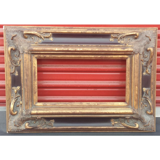 """Ornate Spanish Baroque Dark & Antique Gold Picture Frame/Mirror Frame 8""""x16"""" For Sale - Image 12 of 12"""