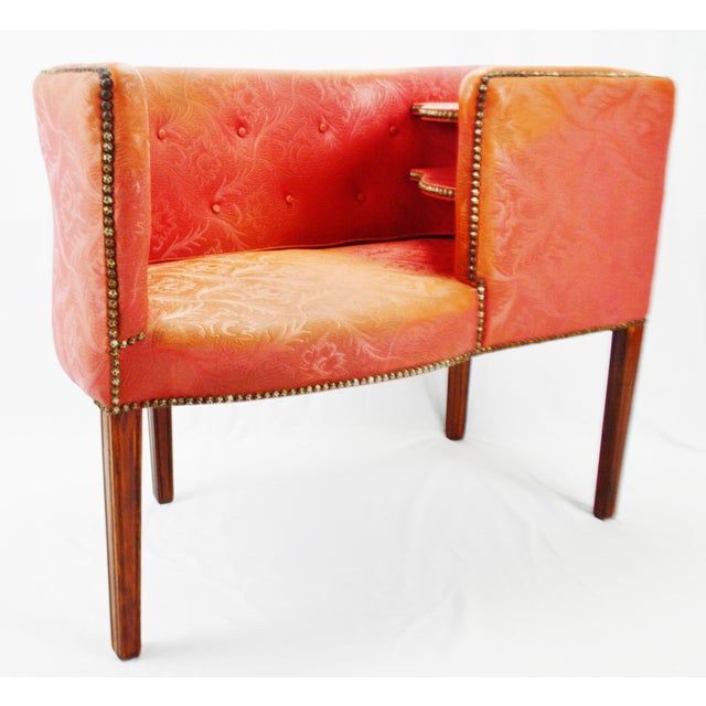 Mid-Century Modern Vintage Red Jacquard Vinyl Barrel Back Gossip Bench Telephone Chair Hall Bench For Sale - Image 3 of 13
