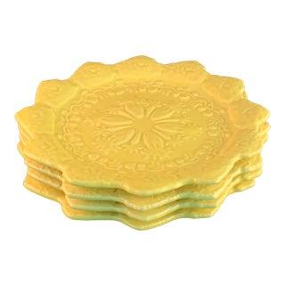 Bordallo Pinheiro Yellow Salad Plates - Set of 4 For Sale