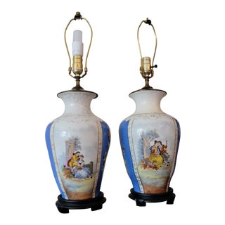 Antique Pastoral Floral Lamps - A Pair