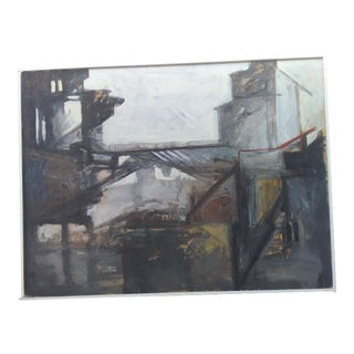 1980s Industrial Cityscape Painting For Sale