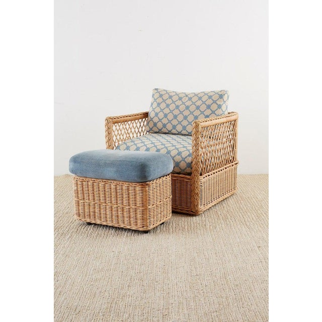 Wicker Pair of McGuire Rattan Wicker Lounge Chairs With Ottoman For Sale - Image 7 of 13